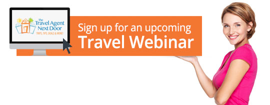 cute redhead holding up travel webinar button - become a travel agent job career agency hosting commission earnings toronto canada